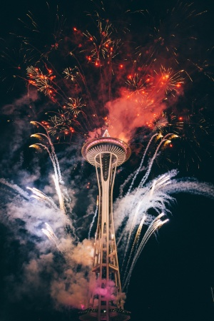 Fireworks over the Seattle Space Needle