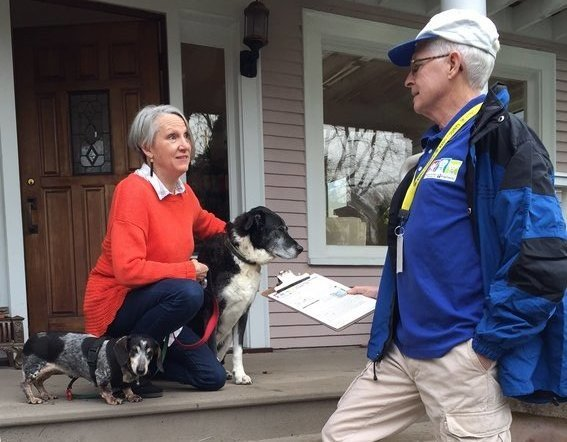 RASKC pet license canvasser with dog owner